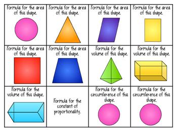 Formula Chart Bingo - 7th Grade