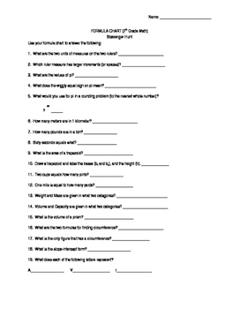 Formula Chart Scavenger Hunt Worksheets & Teaching Resources