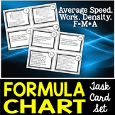 Formula Chart Task Cards: Density, Average Speed, Work, and Net Force