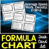 Formula Chart Task Cards: Density, Average Speed, Work, and Net Force
