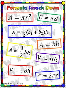 Formula Smack Down - Circumference, Area & Volume