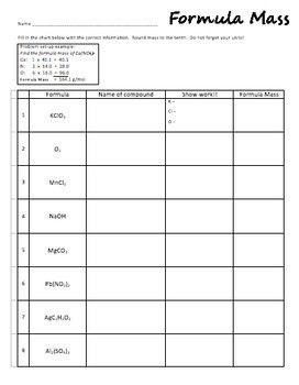 Formula Mass Worksheets