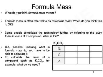 Formula Mass and Percent Composition