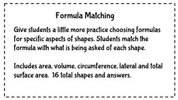 Formula Matching Cards - Geometry