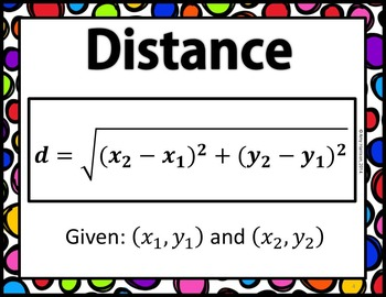 Formula Posters:  Slope, Distance, and Midpoint