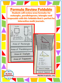 Formula Review Foldable - Area Rectangle, Parallelogram, Triangle, Trapezoid