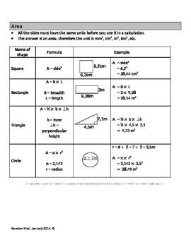 Formula Sheet: perimeter, area, total surface area and volume