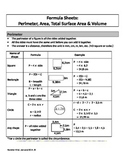 Formula Sheet: perimeter, area, total surface area and volume