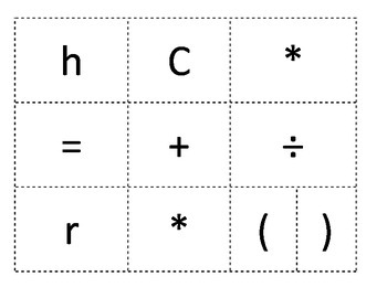 Formula Task Cards