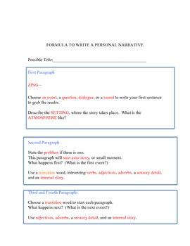 Formula for Writing Personal Narratives