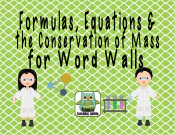 Formulas, Equations & the Law of Conservation of Mass Word Wall Terms/Pictures