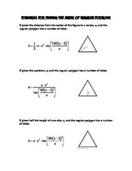 Formulas For Finding The Areas Of Regular Polygons