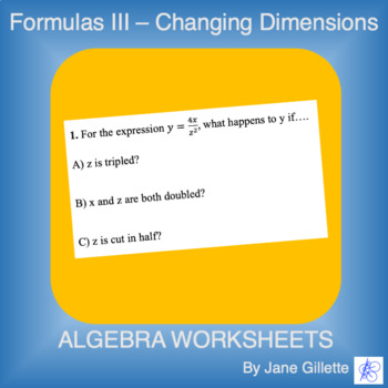 Formulas III - Changing Dimensions