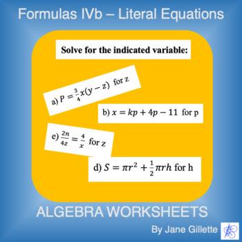 Formulas IVb - Literal Equations
