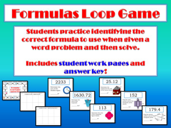 Formula Loop Game: Area of Composite Figures & Circles; Vo