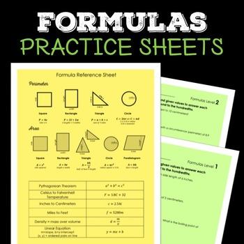 Formula Practice Worksheets