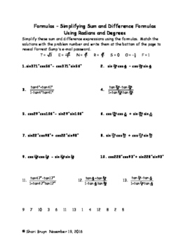 Formulas - Simplifying Sum and Difference Using Radians and Degrees