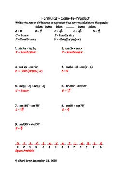 Formulas - Sum-to-Product
