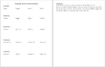 Formulas Via - One and Two Step Literal Equations