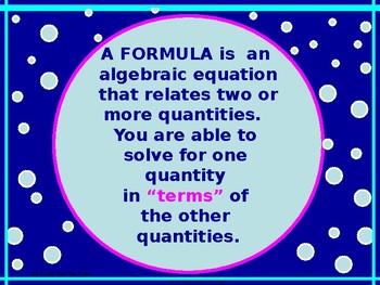 Power-Point:  Formulas in Algebra