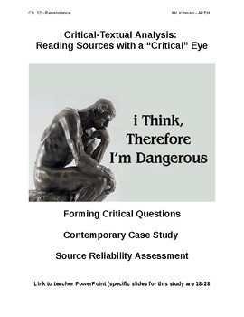 Formulating Critical Questions for a Literary Text