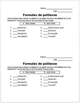Formules de politesse - Formal vs. Familiar (French Comprehension Activity)