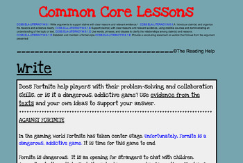 Fornite Debate: Common Core Lessons ~ Argument Writing