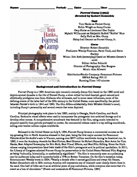 Forrest Gump Film (1994) Study Guide Movie Packet