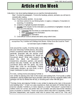 Fortnite #2 Informational Article of the Week