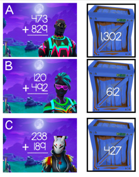Fortnite 3-Digit Addition Math Center