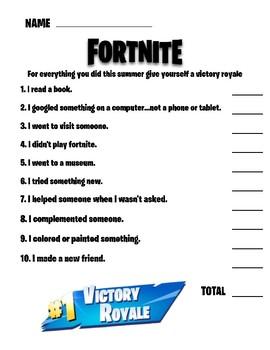 Fortnite Back To School Quiz Ice Breaker