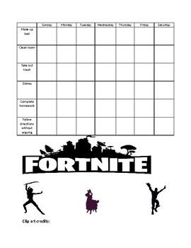 Fortnite Behavior/Chore Chart