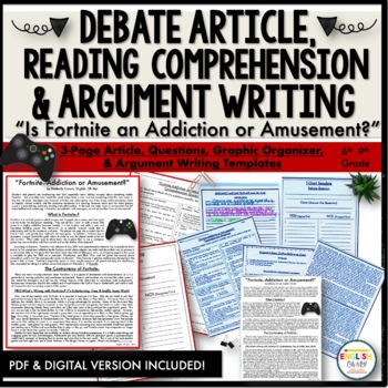 Argument Writing, Fortnite, Comprehension Questions, Debate