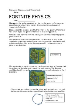 Fortnite Distance And Displacement Worksheet By Szeryksscience Tpt