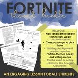 Fortnite ELA Bundle - Nonfiction Article, Poetry Tasks, Writing Menu, Grammar