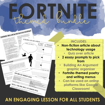 Fortnite ELA Bundle - Nonfiction Article, Poetry Tasks, Writing Menu, Grammar