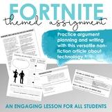 Fortnite Nonfiction Article, Writing Prompt, Grammar Practice, Argument Planning