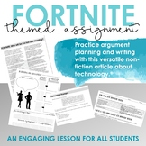 Fortnite Nonfiction Article, Writing Prompt, Grammar Practice, Argument Planning