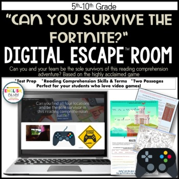 Fortnite Escape Room, Reading Comprehension, Digital Breakout