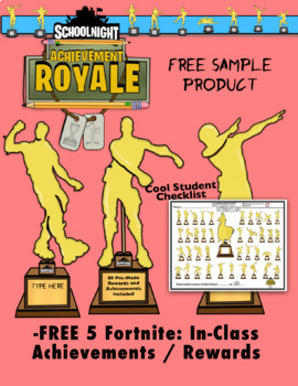 FREE Fortnite In-Class Awards and Achievements  5 Trophies and Student Checklist