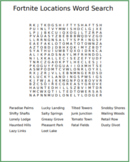 Fortnite Locations Word Search
