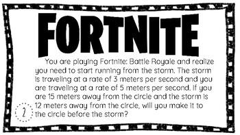 Fortnite Math Task Cards (6th Grade)