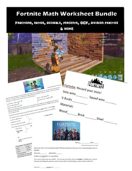 Fortnite Math Worksheet Bundle