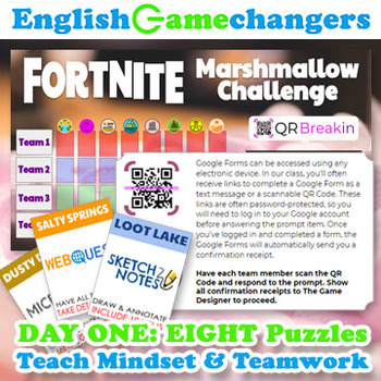 Fortnite-Inspired Marshmallow Challenge: Growth Mindset Back-to-School BUNDLE