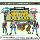 Fortnite Name Tag Desk Tag Label Creator Customizable School Safe