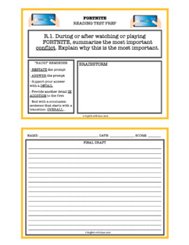 Video Game Reading Skill Task Cards