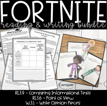 Distance Learning - Google Slides & Printable- Fortnite Reading & Writing Bundle