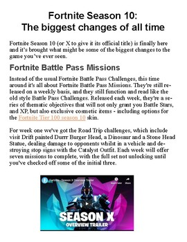 Fortnite Season 10 Reading Comprehension Find Evidence and More