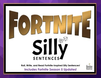 Fortnite Silly Sentences / Roll, Write, Read *2 Grids + Dice Template*