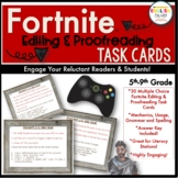 Fortnite Task Cards, Editing & Proofreading, Mechanics, Grammar